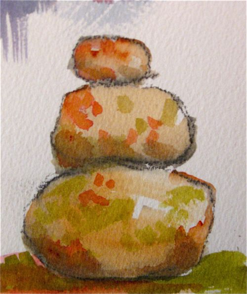 Watercolor Rock Pile