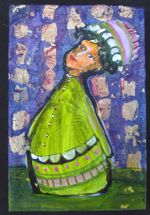 Mixed Media painting, green, purple, diana trout