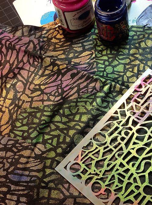 Fabric stenciled