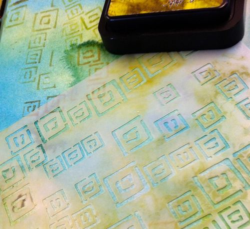 Random Squares Stencil, journal page, diana trout