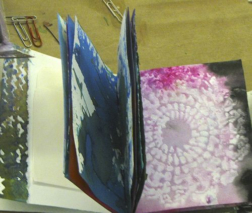 Student Book, Diana Trout, Painted Paper, Tacket Stitch