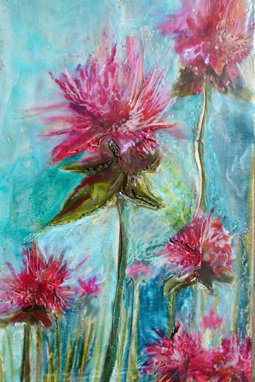 Megan Grugan, detail Bee Balm, Encaustic