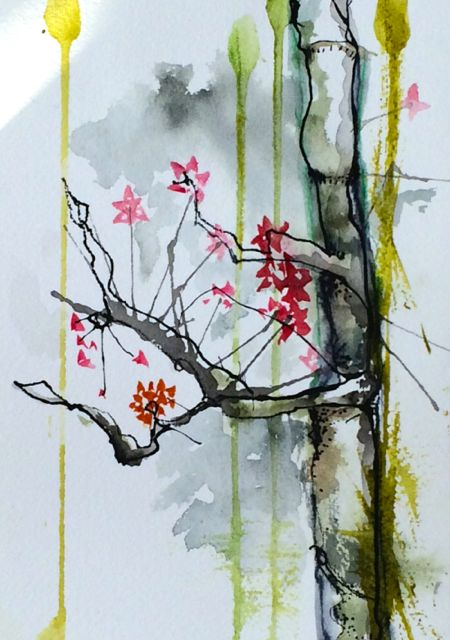 Blossoms, Diana Trout Watercolor Framed $75 SOLD